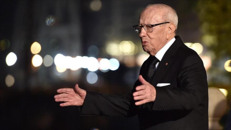 El fallecido presidente de Túnez, Muhamad Beyi Caid Essebsi,12 de noviembre de 2018 en Palermo, Italia.