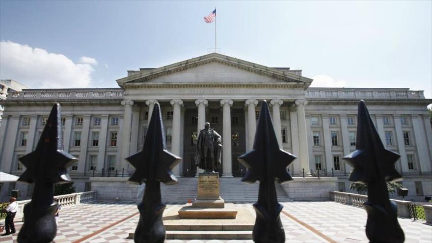 El edificio del Departamento del Tesoro de Estados Unidos en Washington D.C., capital.