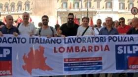 Policía italiana realiza una huelga general de 24 horas