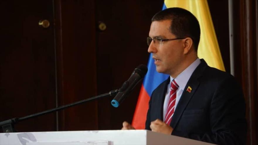 El canciller venezolano, Jorge Arreaza, habla en una conferencia de prensa celebrada en Caracas (capital), el 22 de julio de 2019.
