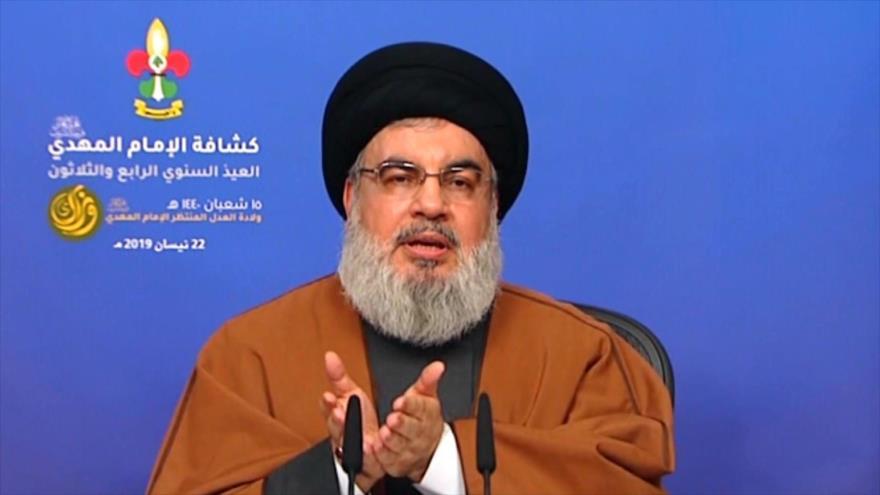 El secretario general del Movimiento de Resistencia Islámica de El Líbano (Hezbolá), Seyed Hasan Nasralá, 22 de abril de 2019.
