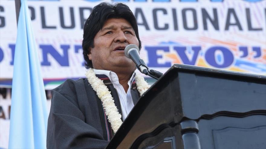 El presidente boliviano, Evo Morales, habla durante un acto público en la ciudad de Cochabamba, 27 de julio de 2019. (Foto: ABI)