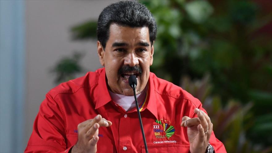 El presidente de Venezuela, Nicolás Maduro (centro), en la clausura del 25.º Foro de Sao Paulo, Caracas, 28 de julio de 2019. (Foto: AFP)