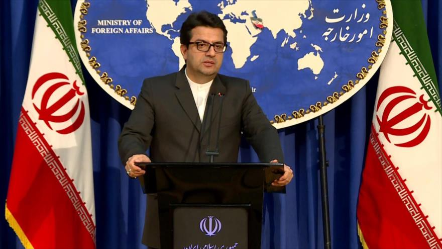 El portavoz de la Cancillería de Irán, Seyed Abás Musavi, en una rueda de prensa, en Teherán.