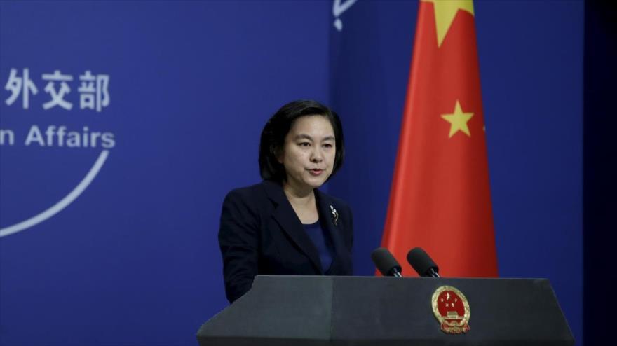 La portavoz de la Cancillería china, Hua Chunying, en una rueda de prensa en Pekín, capital china.