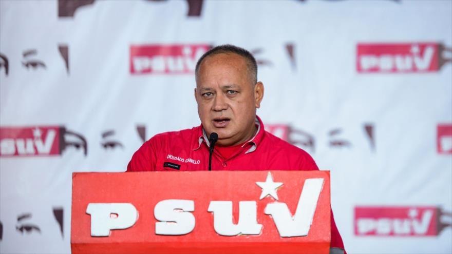 El presidente de ANC de Venezuela, Diosdado Cabello, en una conferencia de prensa celebrada en Caracas (capital venezolana), 22 de julio de 2019. (Foto: AFP)