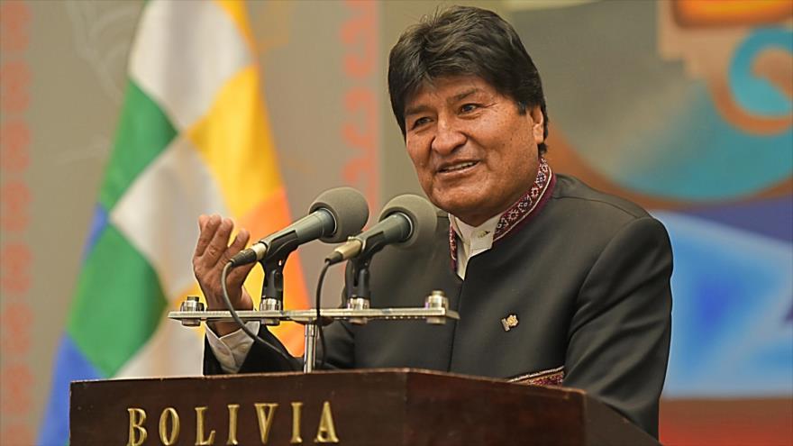 Evo Morales, presidente de Bolivia, habla en el acto de presentación y premiación a deportistas, 31 de julio de 2019. (Foto: ABI)