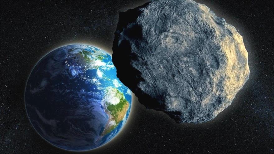 Imagen ilustrativa de un asteroide, que se acerca a la Tierra.