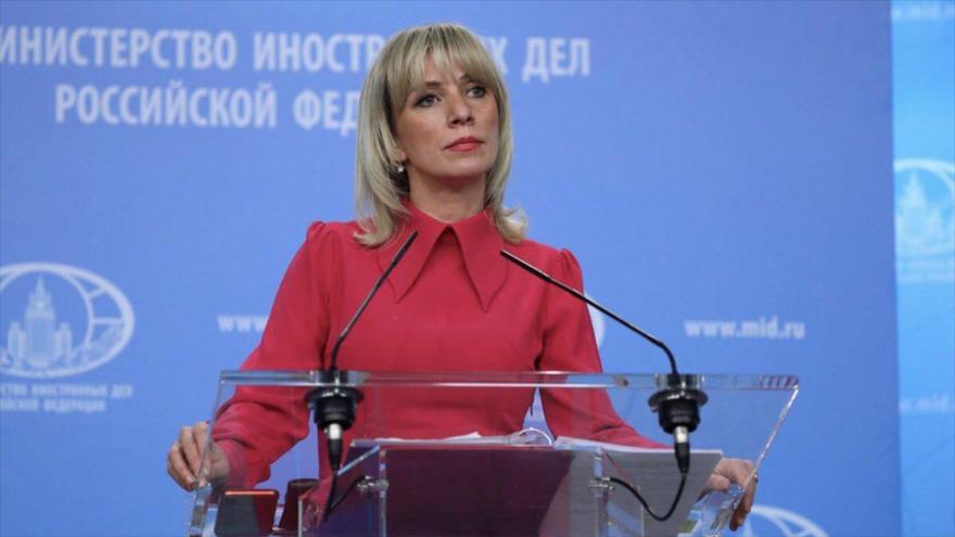 La portavoz del Ministerio de Exteriores de Rusia, María Zajarova, en una rueda de prensa en Moscú.