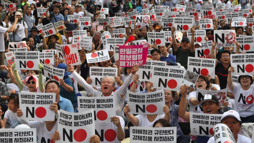 Miles de surcoreanos repudian decisión comercial de Japón   HISPANTV