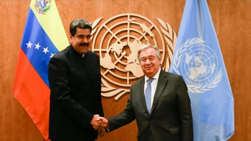 Presidente venezolano, Nicolás Maduro (izda.), y el secretario general de la ONU, Antonio Guterres, Nueva York, 27 de septiembre de 2018.