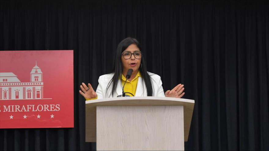 La vicepresidenta de Venezuela, Delcy Rodríguez, en una conferencia de prensa en Caracas, la capital, 31 julio de 2019. (Foto: AFP)
