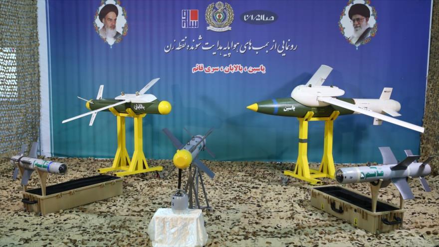 Las bombas avanzadas iraníes 'Yasin' (dcha.), 'Balaban' (izq.) y 'Qaem' son desveladas en el Ministerio de Defensa pers, 6 de agosto de 2019.
