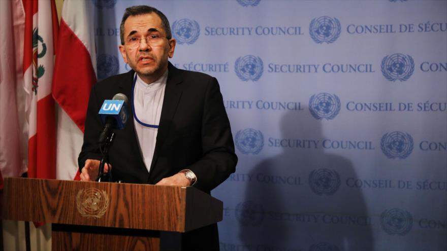 El enviado de Irán ante las Naciones Unidas, Mayid Tajt Ravanchi, habla con la prensa en Nueva York, 24 de junio de 2019. (Foto: AFP)