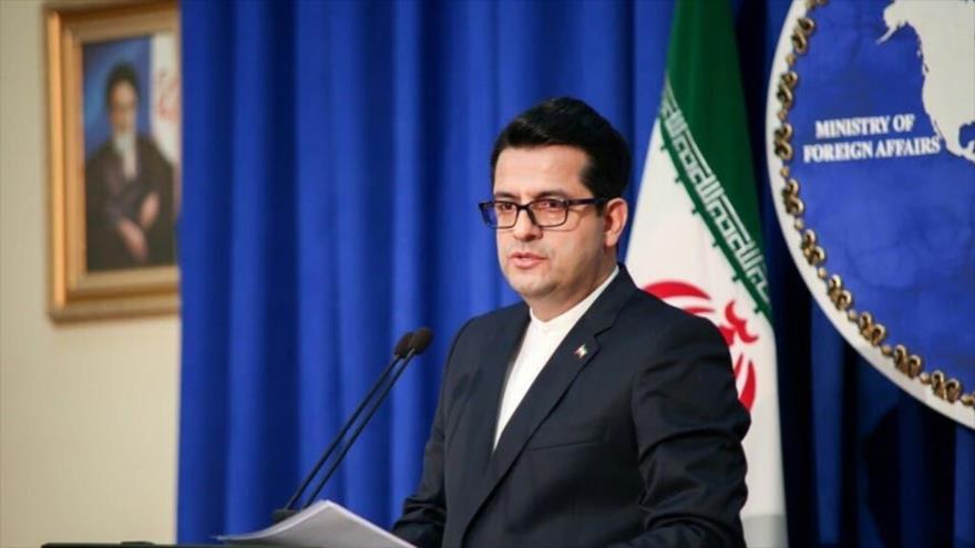 El portavoz de la Cancillería de Irán, Seyed Abás Musavi, en una rueda de prensa en Teherá, capital persa.