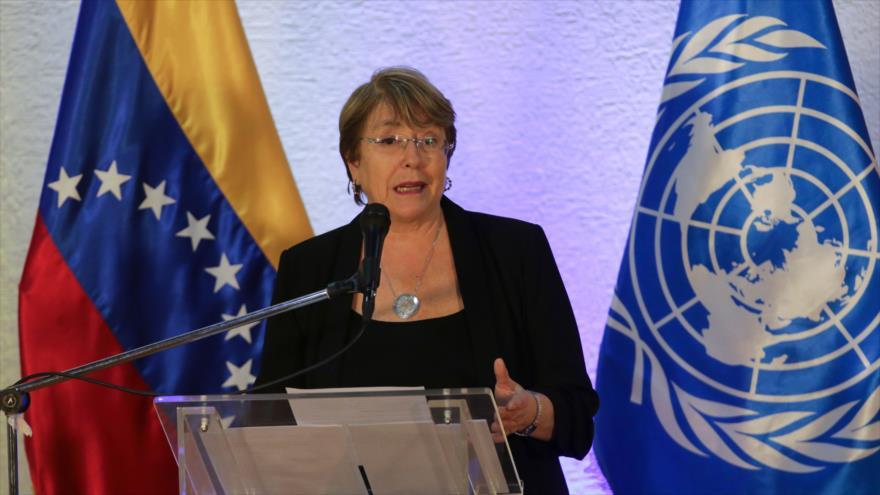 La alta comisionada de Derechos Humanos de la ONU, Michelle Bachelet, habla durante una conferencia de prensa en Caracas, 21 de junio de 2019. (Foto: AFP)