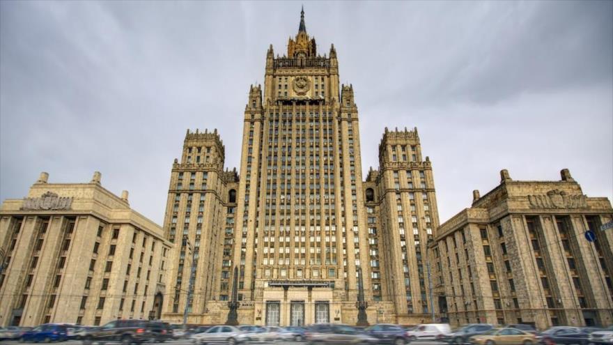 La sede de la Cancillería rusa en Moscú, capital de Rusia.