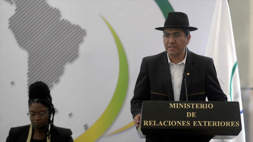 El canciller boliviano, Diego Pary, ofrece un discurso en San Salvador, 14 de junio de 2019. (Foto: AFP)