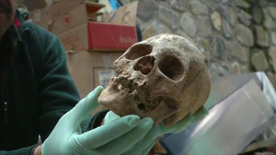 Un cráneo humano de 500 años de antigüedad encontrado en Bolivia.