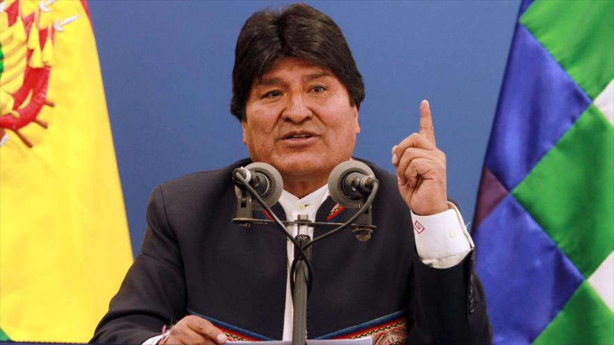 El presidente de Bolivia, Evo Morales, en una conferencia de prensa en el palacio presidencial en La Paz (capital política), 13 de agosto de 2019. (Foto: AFP)