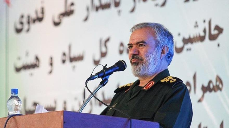 El comandante en jefe adjunto del CGRI de Irán, el general de brigada Ali Fadavi, durante un acto en Jorasán del Norte, 13 de agosto de 2019. (Foto: Tansim)