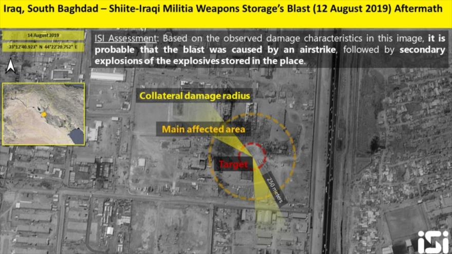 Una foto satelital de las explosiones registradas el 12 de agosto en una base militar en el sur de Bagdad, la capital de Irak. (Foto: ISI)