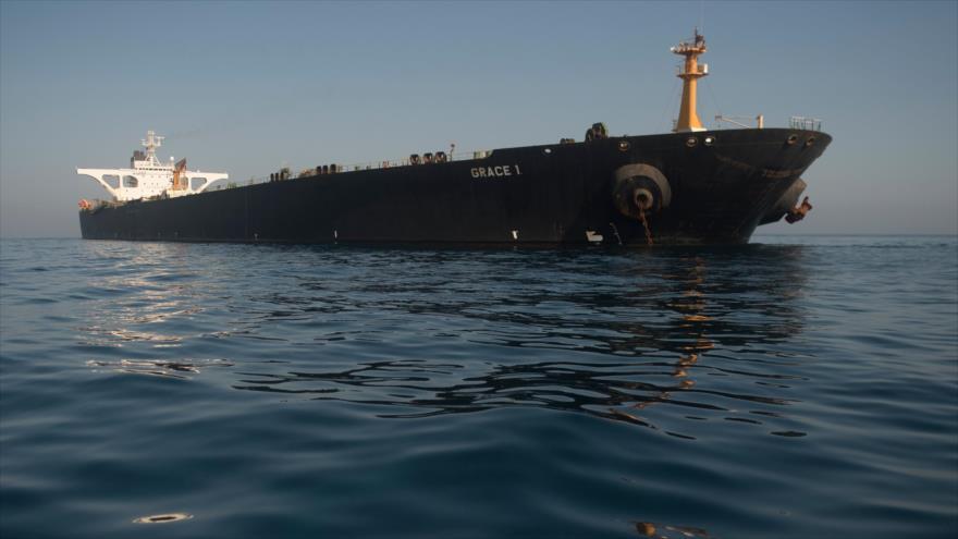 El petrolero Grace 1, cargado con crudo iraní, en las aguas de Gibraltar, 15 de agosto de 2019. (Foto: AFP)