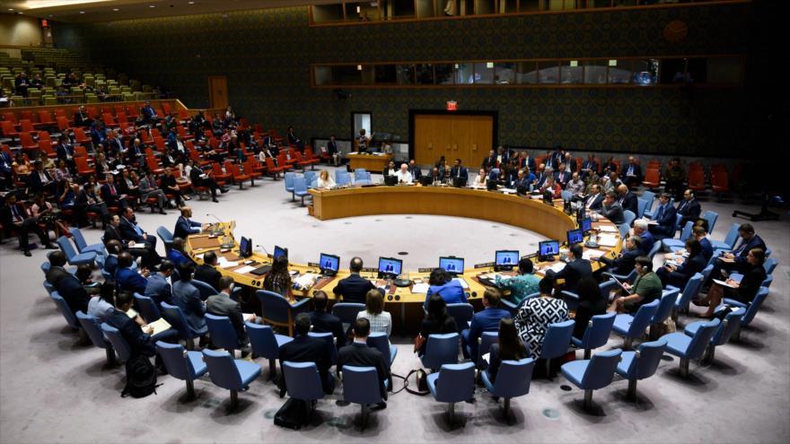 Una sesión del Consejo de Seguridad de las Naciones Unidas (CSNU), celebrada en la sede del organismo en Nueva York, 13 de agosto de 2019. (Foto: AFP)