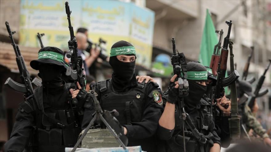 Miembros del brazo armado de HAMAS, las Brigadas Ezzedin Al-Qassam, Franja de Gaza, 6 de mayo de 2018. (Foto: AFP)