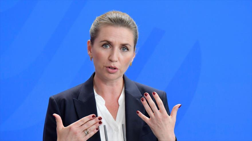 La primera ministra danesa, Mette Frederiksen, en una rueda de prensa en Alemania, 13 de agosto de 2019. (Foto: AFP)