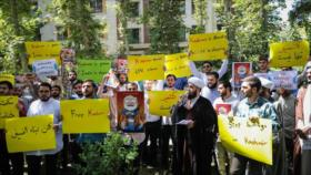 Iraníes protestan contra la represión de musulmanes en Cachemira