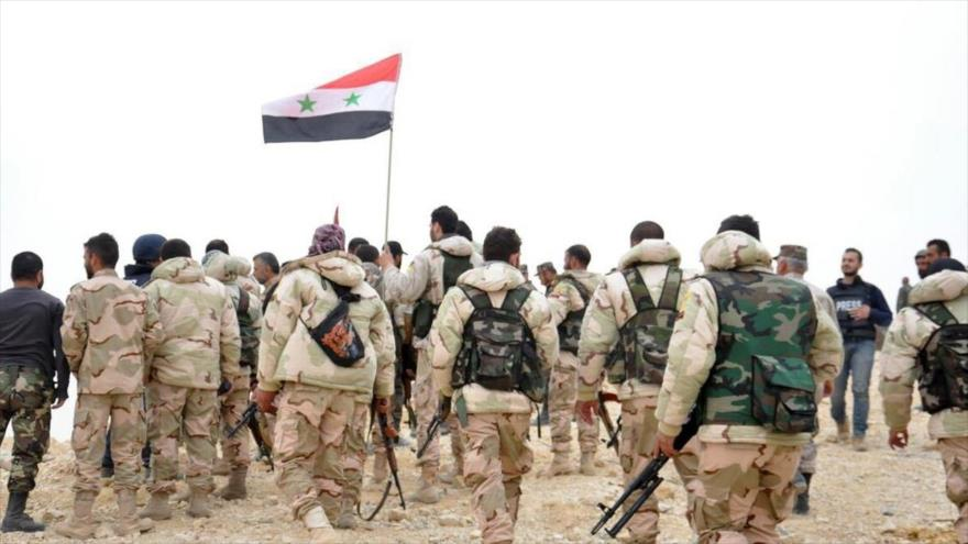 Los soldados del Ejército sirio en la ciudad de Palmira.