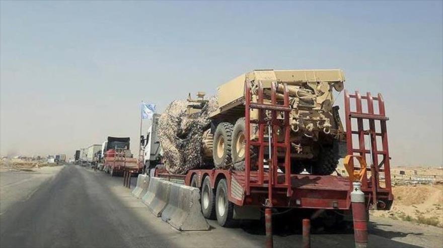 Un convoy de ayudas enviado por la llamada coalición internacional, liderada por EE.UU., a los kurdos en Siria.