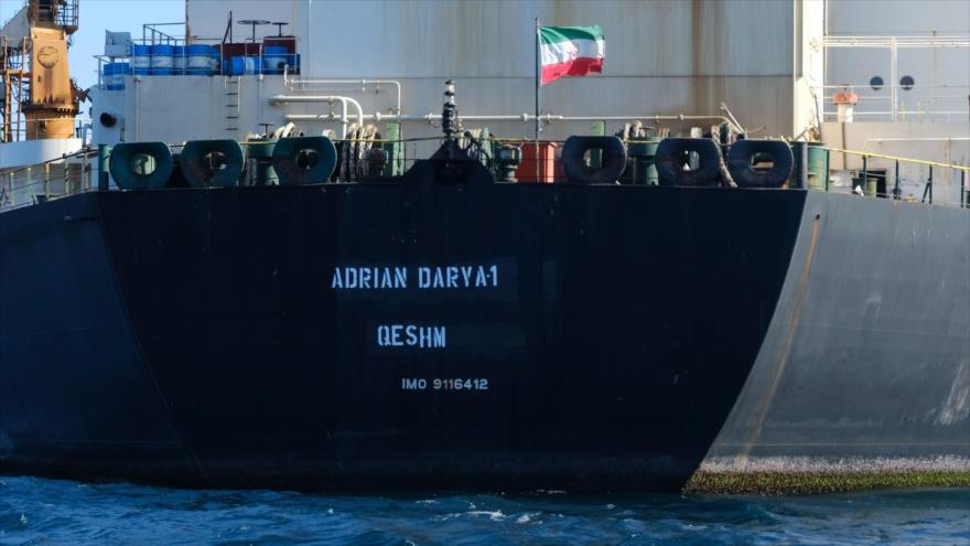 El petrolero Adrian Darya I, llamado anteriormente Grace 1, en las aguas de Gibraltar, 18 de agosto de 2019. (Foto: AFP)