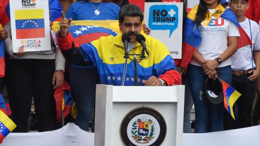 El presidente de Venezuela, Nicolás Maduro, durante un mitin en Caracas, la capital, 10 de agosto de 2019. (Foto: AFP)