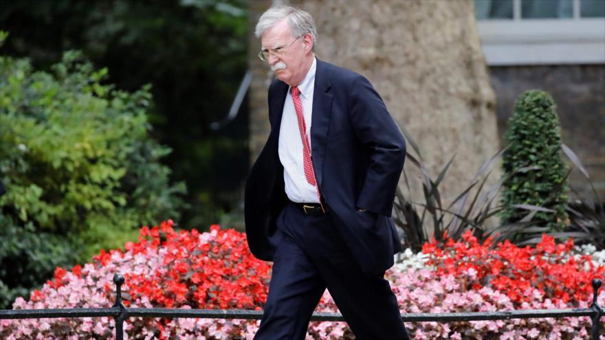 El asesor de Seguridad Nacional de EE.UU., John Bolton, en Londres, 13 de agosto de 2019. (Foto: AFP)