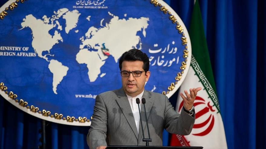 El portavoz de la Cancillería de Irán, Seyed Abas Musavi, en una rueda de prensa en Teherán (capital), 19 de agosto de 2019. (Foto: Fars)