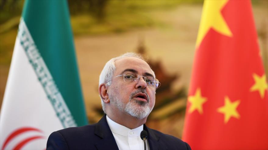El canciller de Irán, Mohamad Yavad Zarif, durante un acto en Pekín, capital china.