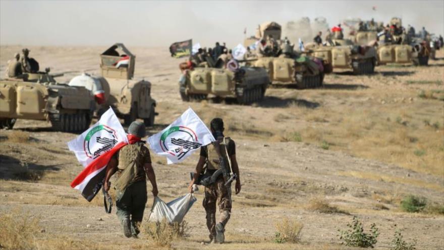 Las Unidades de Movilización Popular iraquí (Al-Hashad Al-Shabi, en árabe) se preparan para llevar a cabo ataques contra los terroristas.