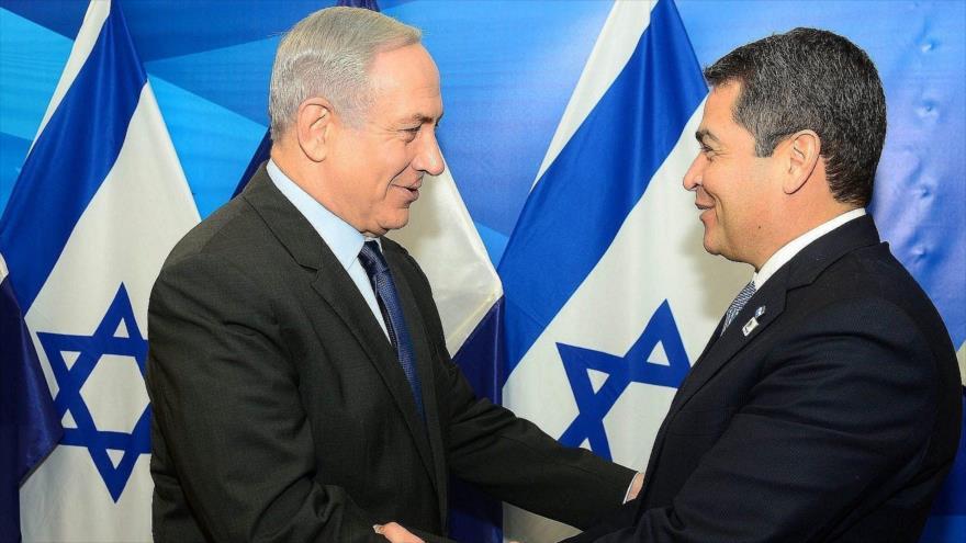 El primer ministro de Israel, Benjamín Netanyahu, y el presidente de Honduras, Juan Orlando Hernández, en Al-Quds, 29 de octubre de 2015.