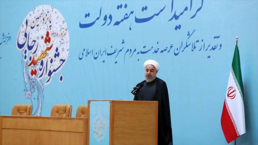 El presidente de Irán, Hasan Rohani, habla durante un acto en Teherán, 28 de agosto de 2019.