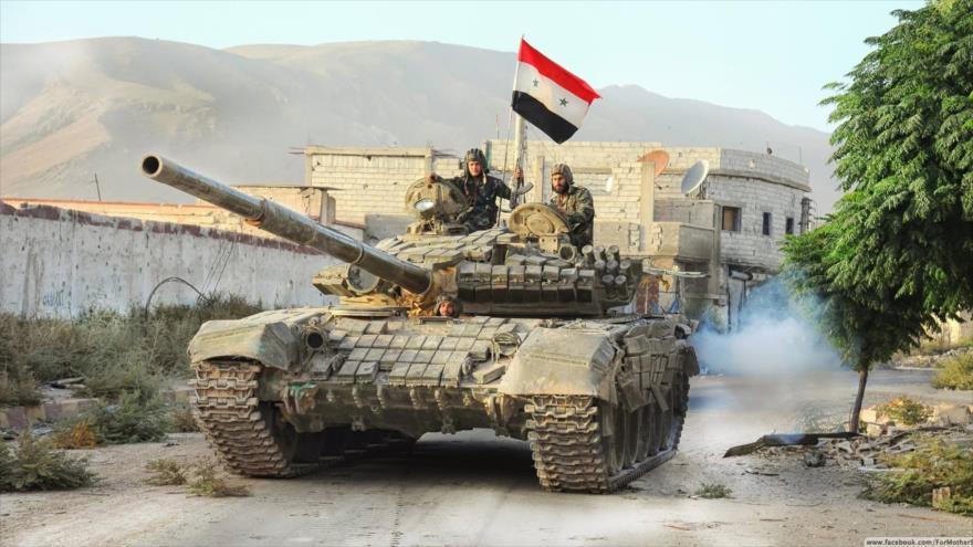 Un tanque T-72, de fabricación rusa, de las fuerzas sirias en Idlib.