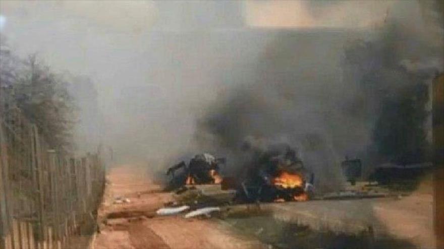 Un vehículo militar israelí destruido por las fuerzas de Hezbolá, 1 de septimebre de 2019.