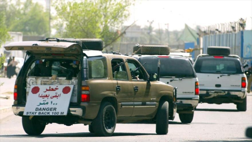 Vehículos de una empresa de seguridad extranjera, desplegada en Bagdad, la capital de Irak.