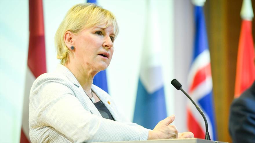 La ministra sueca de Exteriores, Margot Wallstrom, ofrece una rueda de prensa en Jurmala (Letonia), 3 de junio de 2019. (Foto: AFP)