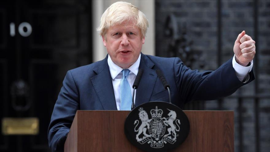 El premier británico, Boris Johnson, habla con la prensa desde Londres, 2 de septiembre de 2019. (Foto: AFP)