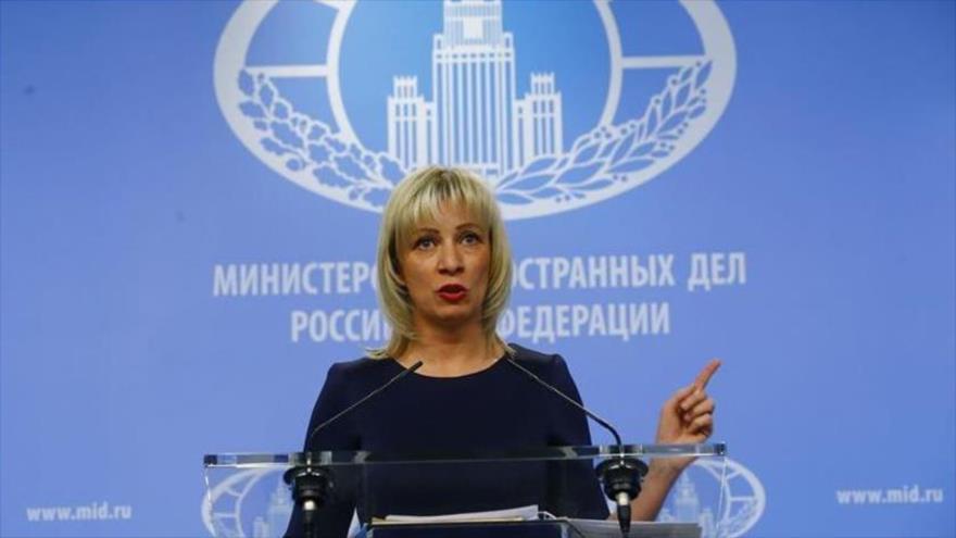 La portavoz de la Cancillería rusa, María Zajarova, en una rueda de prensa.