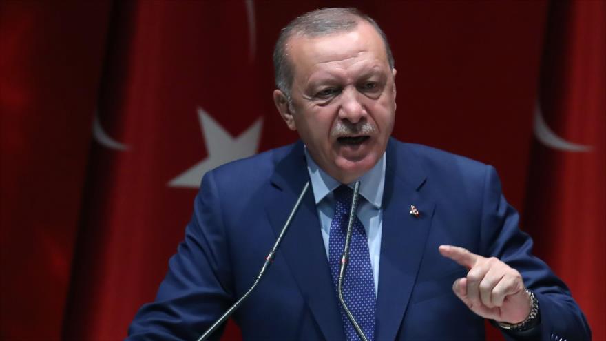 El presidente turco, Recep Tayyip Erdogan, pronuncia un discurso en Ankara, capital de Turquía, 5 de septiembre de 2019. (Foto: AFP)
