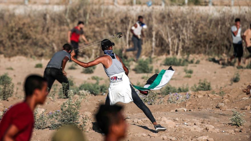 Palestinos durante una manifestación de la Gran Marcha del Retorno en la Franja de Gaza, 6 de septiembre de 2019. (Foto: AFP)