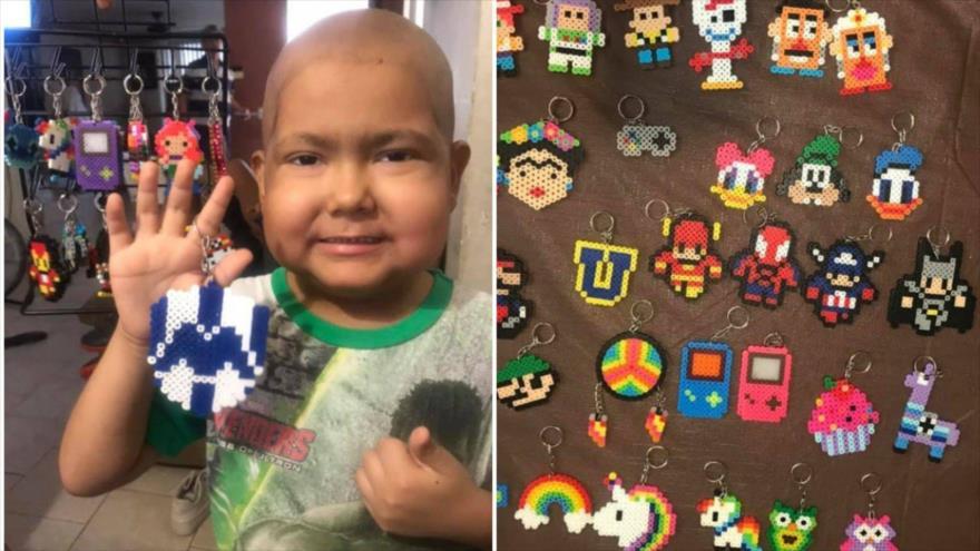 Gian Carlos, el niño que fabrica llaveros para poder comprar sus medicamientos.